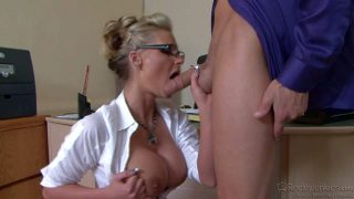 Chris Johnnson catches Phoenix Marie masturbating. Four-eyed office blonde with