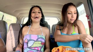 Samy, Angelina and Pedro have crazy fun in the backseat