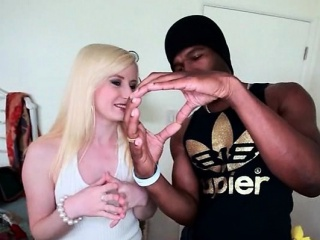 Teen blonde orally pleasing black pecker